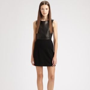 Theory Tirionne Leather Combo Cocktail Dress Sz 4